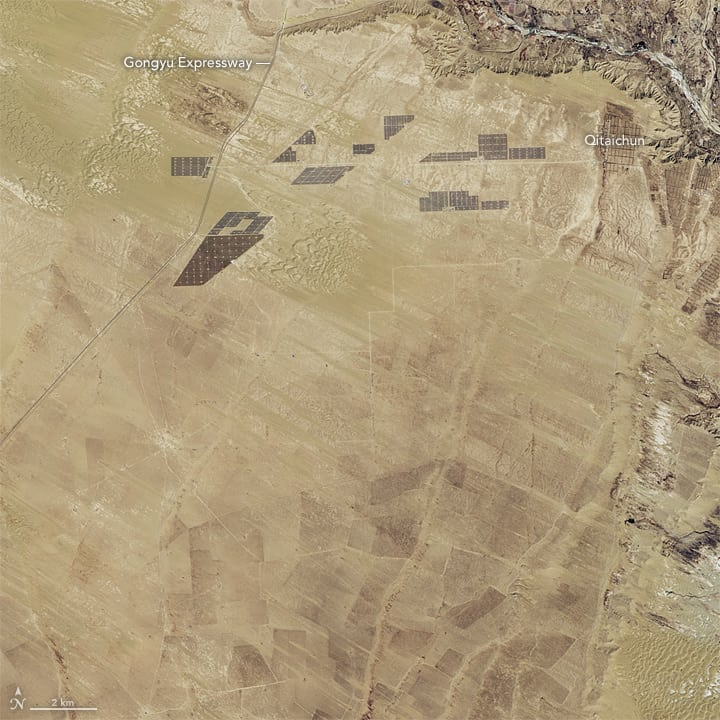 Longyangxia Dam Solar Park Progress - 2013 (source: NASA)