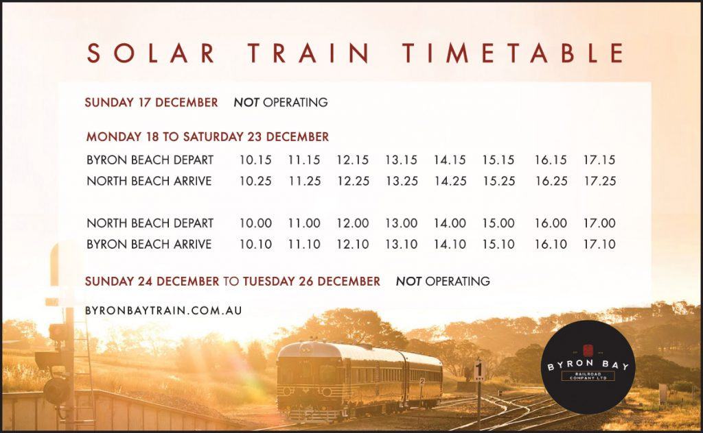 Byron Bay Solar Train Timetable