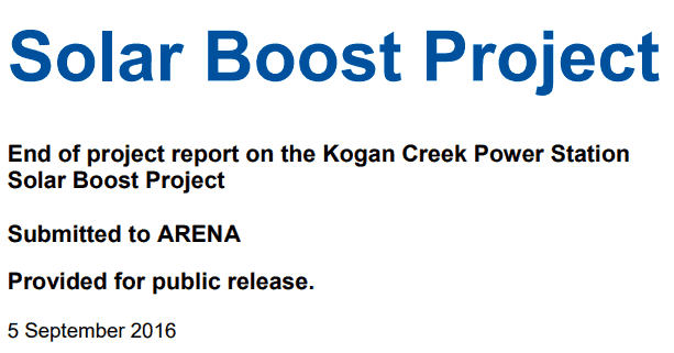 Kogan Creek Power Station Solar Boost Project End of Project Report